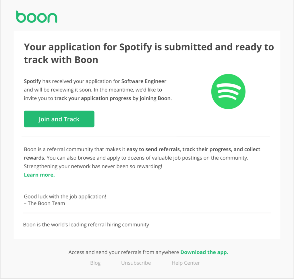 boon referral application confirmation email