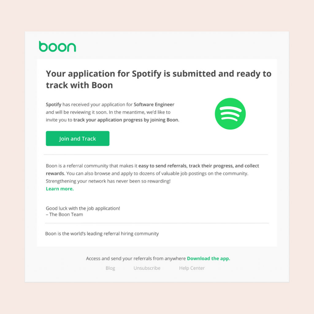 Email for Boon application confirmation
