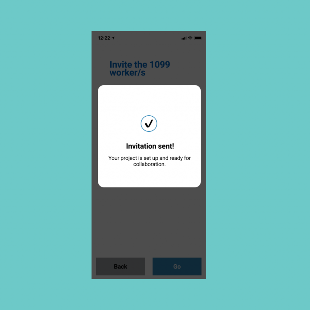 Invite sent app screen